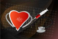 heart symbol and stethoscope with normal electrocardiogram line, cardiac moni - stock illustration