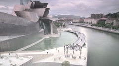 Museum in Bilbao near the river Stock Footage