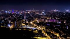 Barcelona skyline time lapse at night Stock Footage