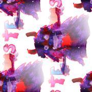 Mural monster seamless pattern  texture wallpaper - stock illustration