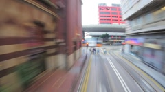 Moving through Hong Kong city by tram timelapse. Modern city transportation Stock Footage