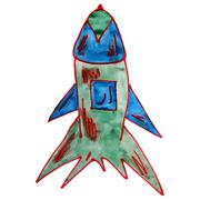 Watercolor drawing kids cartoon missile over background Stock Illustration