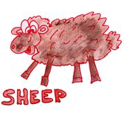 Stock Illustration of watercolor drawing kids cartoon sheep on white background
