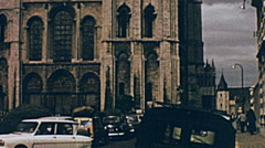 Chartres 1965: traffic in front of the Cathedral Stock Footage