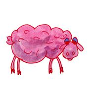 Stock Illustration of watercolor pink sheep drawing cartoon style