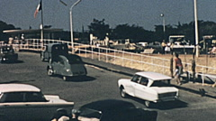 Pointe de Grave 1965: cars disembarking from the ship Stock Footage