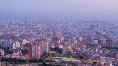 Barcelona skyline timelapse from dusk to night Stock Footage