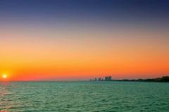 Sunset over the emerald coast Stock Footage