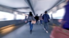 Slow motion video of people moving in crowded tunnel at Hong Kong city street Stock Footage