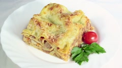 Italian cuisine. lasagna Stock Footage