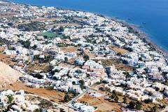 View of kamari on the island of santorini, greece Stock Photos
