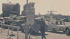 Southampton, England 1965: cars waiting for embarking in the ship Stock Footage