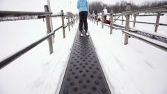 Ski elevator magic carpet Stock Footage