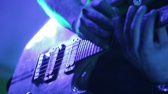 Masterly solo guitarist playing electric guitar Stock Footage