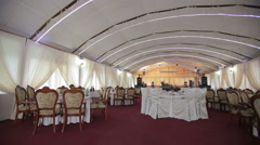Large open banquet hall Stock Footage