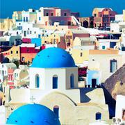 Orthodox church on the island of santorini, greece Stock Photos