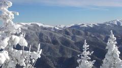 Beautiful mountain view in winter season. Holiday trip. - stock footage