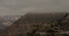 Cloudy and Foggy Shot of Grand Canyon - Camera Pan Stock Footage