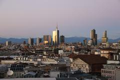 view of milans  business district from duomo di milano. - stock photo