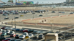 Cars parked in parking lot in Santa Monica by the beach LA California Stock Footage