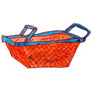 Drawing cartoon a children watercolor basket on white Stock Illustration