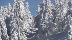 Beautiful image with a ski slope and snow cover trees. Winter sports in holiday. Stock Footage