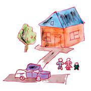 drawing children watercolor house, yard cartoon on a white backg - stock illustration