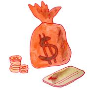 Drawing children watercolor money bag on a white background Cart Stock Illustration