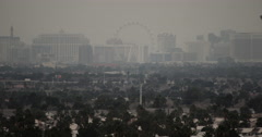 Smoggy Las Vegas Skyline Stock Footage