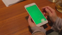 iphone 6 plus phone white - finger scrolling green screen - stock footage