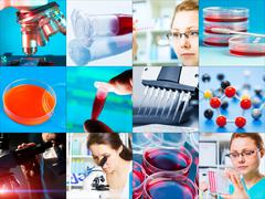 Scientific design elements collage - microbiology, genetics, scientists Stock Photos