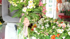 Florist Making Bouquet In Flower Shop Stock Footage