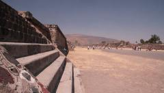Dolly shot. Mexico,Teotihuacan,Avenue of the dead,Maya Stock Footage
