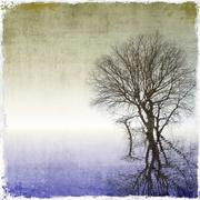 Grunge background with tree reflected in water Stock Illustration