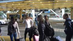 People Arriving and Departing Airport Stock Footage