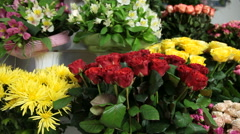 Interior of a flower shop with bouquets of roses - stock footage