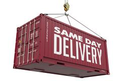 Same Day Delivery - Burgundy Hanging Cargo Container. Stock Illustration