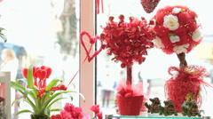Valentine's Day gift shop showcase Stock Footage