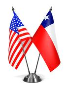 USA and Chile - Miniature Flags. Stock Illustration