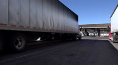 4K Parked Trucks At Highway Rest Stop Area ED Stock Footage
