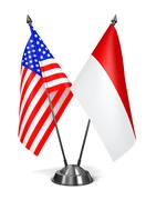 USA and Indonesia - Miniature Flags. - stock illustration