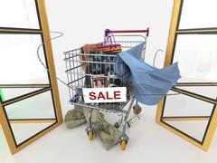 Shopping sale concept background with shopping trolley on isolate white Stock Illustration