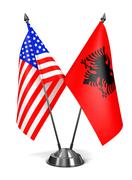 Stock Illustration of USA and Albania - Miniature Flags.