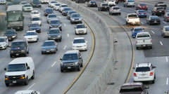 Overhead View of Traffic on Busy Freeway in Downtown Los Angeles California Stock Footage