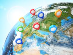 travel destination concept. pin on earth. navigation. - stock illustration