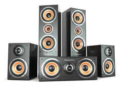 Stock Illustration of group of audio speakers. loudspeakers isolated on white.