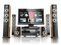 Home cinemar system. tv,  oudspeakers, player and receiver  isolated on white Stock Illustration