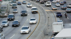 Time Lapse View of Traffic on Busy Freeway in Downtown Los Angeles California Stock Footage