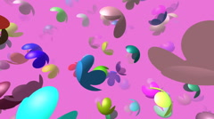 Flying flowers generated 3D video - stock footage