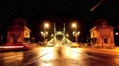 Traffic in front of the liberty bridge in Budapest Stock Footage